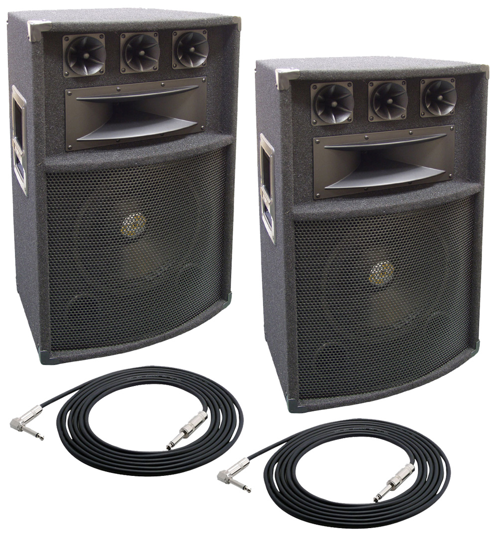 2 pro audio pyle padh1289 dj passive 1200 watts 5 way 12 cabinet speakers with 50 cables. Black Bedroom Furniture Sets. Home Design Ideas
