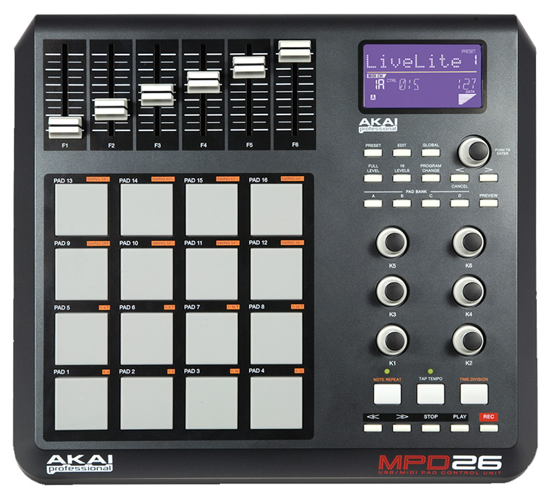 akai mpd26 usb midi 16 mpc pad controller with ableton live lite software mpd26. Black Bedroom Furniture Sets. Home Design Ideas