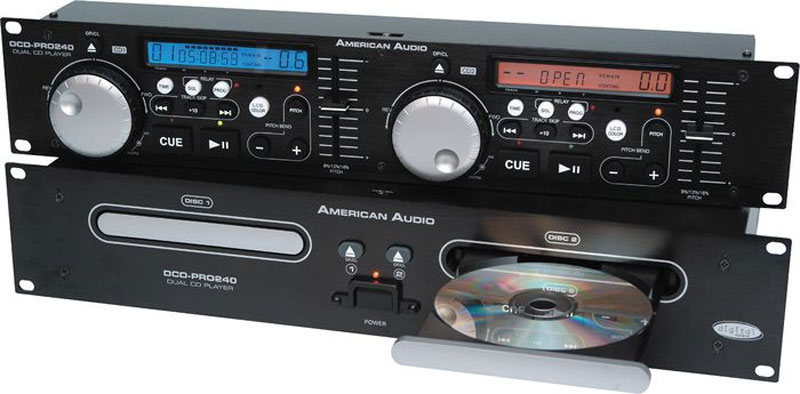 american dj dcd pro 240 rack mount dual cd player with color changing lcd display rgb dcd pro. Black Bedroom Furniture Sets. Home Design Ideas
