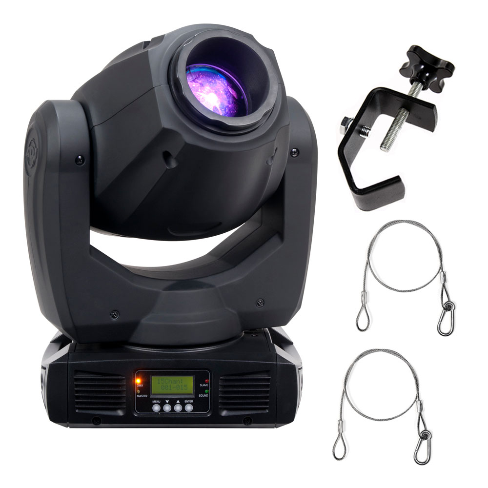 american dj inno spot pro 80w led moving head fixture with 2 truss clamps and safety harness. Black Bedroom Furniture Sets. Home Design Ideas