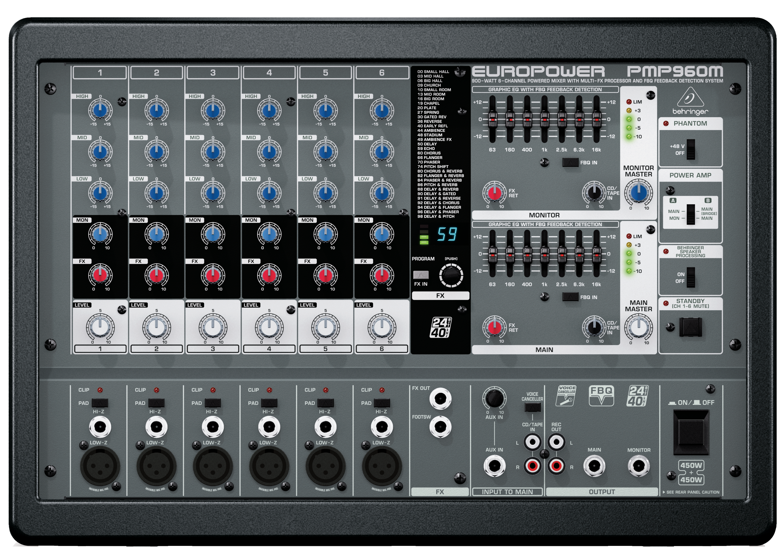 Behringer Pmp960m 900 Watt 6 Channel Powered Mixer With Multi Fx Audio Processor And Fbq Feedback Detection System