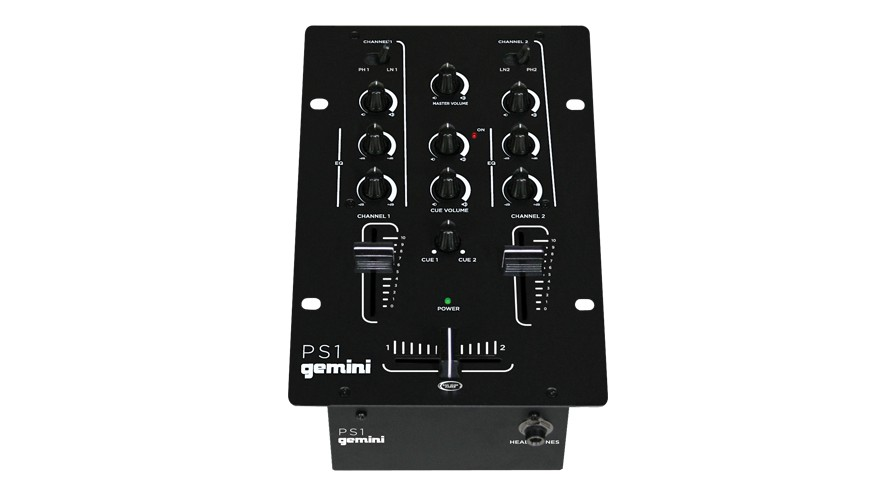 gemini ps1 2 channel professional dj stereo mixer w rotary cue volume control gem13 ps1. Black Bedroom Furniture Sets. Home Design Ideas