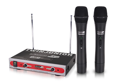 jammin pro twin junior dual vhf wireless mic system w rugged durable handheld microphones. Black Bedroom Furniture Sets. Home Design Ideas