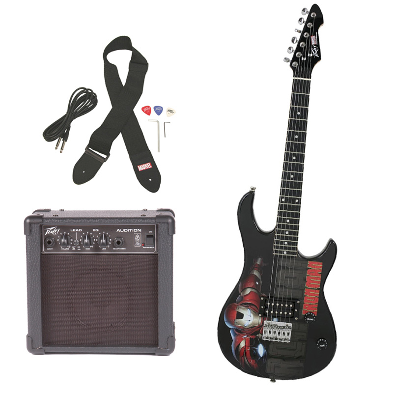 peavey pro audio rockmaster 3 4 student marvel iron man beginner electric guitar with cable. Black Bedroom Furniture Sets. Home Design Ideas