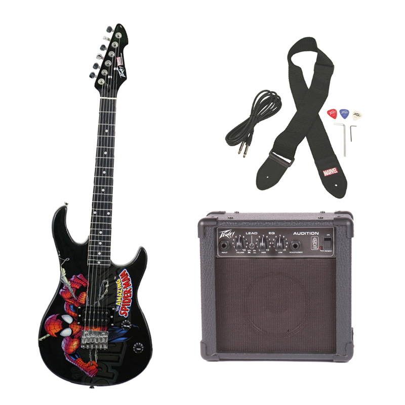 peavey pro audio rockmaster 3 4 student marvel spider man beginner electric guitar with cable. Black Bedroom Furniture Sets. Home Design Ideas