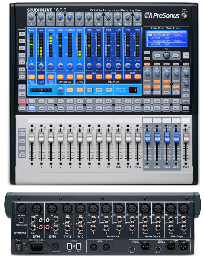 presonus pro audio studiolive 16 0 2 16 x 2 performance and recording digital mixer 12pre. Black Bedroom Furniture Sets. Home Design Ideas
