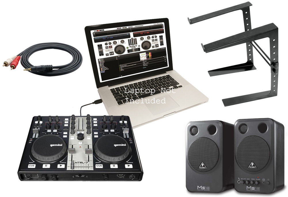 pro audio gemini dj cntrl 7 computer midi software controller with laptop stand powered. Black Bedroom Furniture Sets. Home Design Ideas