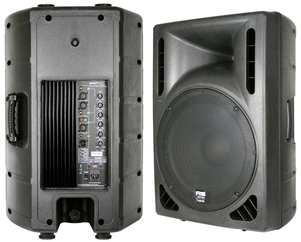 pro audio gemini dj rs 415 powered 15 1200 watt 2 way pa speaker with 80 stand xlr cable. Black Bedroom Furniture Sets. Home Design Ideas