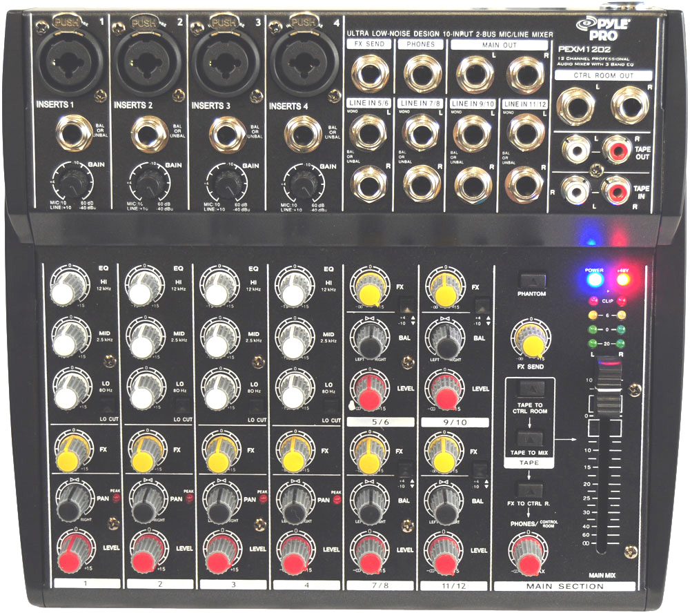 Pro Audio Pyle Dj Pexm1202 Table Top 12 Channel Mixer With 1 4 3 Trs Xlr Cable Package