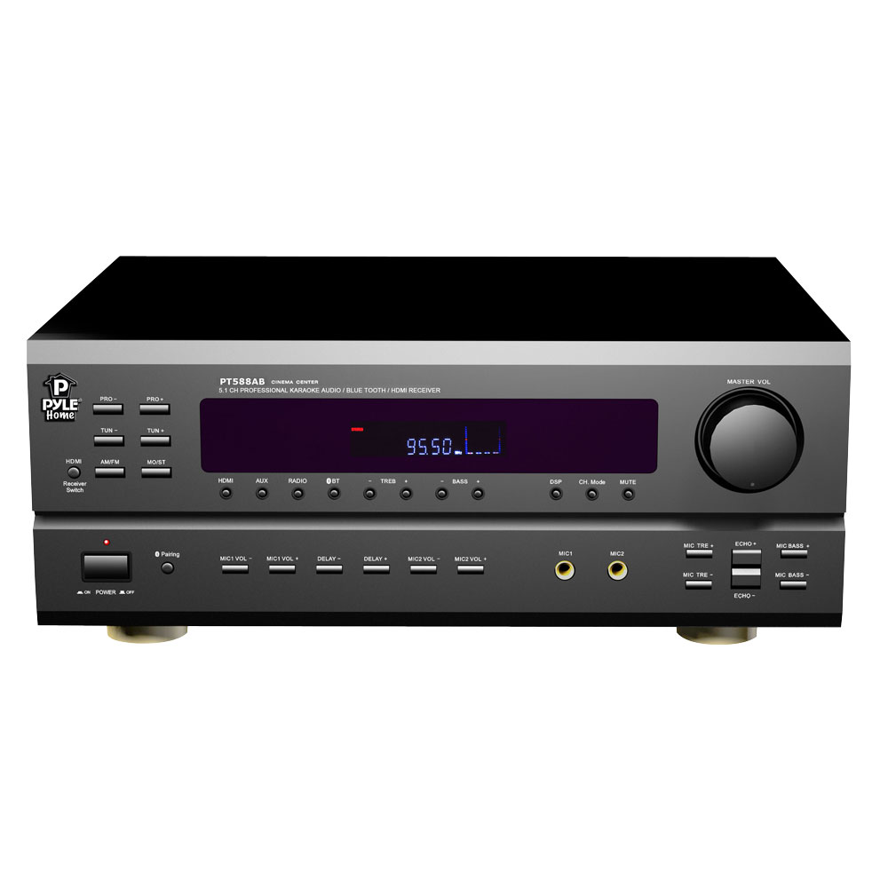 pyle home pt588ab 5 1 channel home receiver with am fm hdmi built in bluetooth pt588ab. Black Bedroom Furniture Sets. Home Design Ideas
