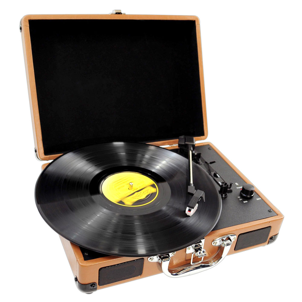 New PVNT7U Wood Cabinet Retro Style Turntable With USB-to-PC Three Speed RCA Out