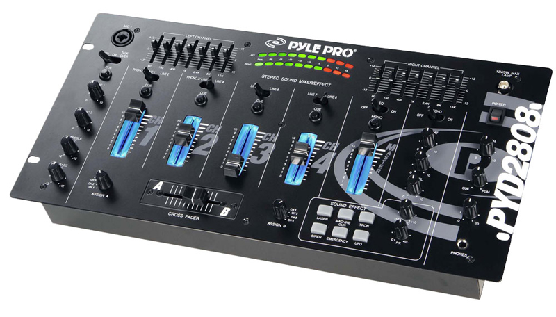 pyle pro audio pyd2808 19 39 39 rack mount 4 channel professional mixer w digital echo and sfx. Black Bedroom Furniture Sets. Home Design Ideas