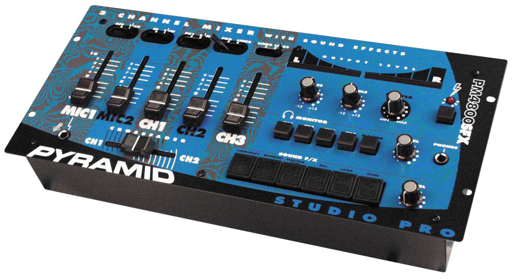 pyramid pm4800sfx 4 channel rack mount stereo dj mixer with sound effects led level meter. Black Bedroom Furniture Sets. Home Design Ideas
