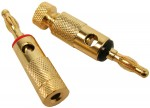 1 Red & 1 Black DJ PA Speaker or Home Audio 24K Gold Plated Wire Banana Plug Terminals