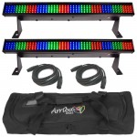 (2) Colorstrip Mini Color Wash Stage Bar Chauvet Lights with (2) DMX Cables & Arriba Transport Bag Combo