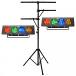 (2) DJ BANK Multi Color LED Chase Effect Chauvet Light with Multi Arm T-Bar Chauvet Lighting Tripod Stand Package Combo