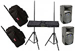 "(2) Mackie C300z Pro Audio DJ Passive 12"" 600 Watt Speakers with Adjustable Stands & (2) Gator Cases GPA-700A Rolling Speaker Gig Bags"