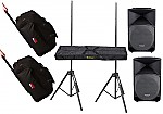 """(2) Mackie TH-12A Pro Audio DJ Powered 12"""" 400 Watt Speakers with Adjustable Stands & (2) Gator Cases GPA-712SM Rolling Speaker Gig Bags"""
