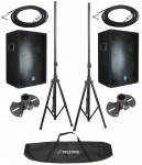 "(2) Pro Audio Gemini DJ GSM-1260 Passive 800 Watt 3 Way 12"" Speaker Pair with $170 1/4"" Jack Cables & Stands"