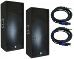 "(2) Pro Audio Gemini DJ GSM-3250 Passive Dual 15"" 2400 Watt PA Speakers with $70 Speakon Cables"
