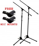 (2) Vocal Stage or Instrument Adjustable Height Boom Mic Microphone Tripod Stand FREE Mounts