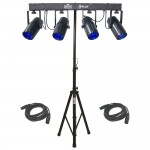 4Play Multi Color LED Moonflower Effect Bar Chauvet Light with (2) DMX Cables & Tripod Stand Combo