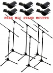 (6) Vocal Stage or Instrument Adjustable Height Boom Mic Microphone Tripod Stand FREE Mounts