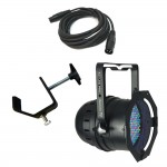 64B LED PRO Black Par Can RGB Color Stage Wash American DJ Light with DMX Cable & Truss Clamp Combo