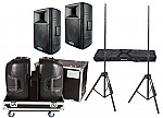 "American Audio Pro DJ (2) DLS-15 Passive 15"" 900 Watt Speakers and Gator Cases G-TOUR 2X15-SPKR Rolling Caster Wheel Case with Stands"