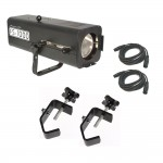 American DJ FS 1000 Church Stage High Power 575W Follow Spot Light with 2 Truss Mounting Clamps and 2 DMX Cables