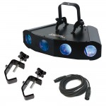 American DJ QUAD GEM DMX 4-Way Led Array Moonflower Fixture with 2 DMX Cables and 2 Truss Clamps
