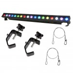 American DJ ULTRA KLING BAR 18 1Meter 18x3W Tri RGB LED Bar Fixture with 2 Truss Clamps and 2 Safety Harnesses