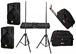 """Behringer Pro Audio DJ (2) B212D Powered 550 Watt 12"""" Speakers with Adjustable Stands & (2) Gator Cases Rolling Gig Bags"""
