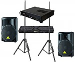 "Behringer Pro Audio DJ (2) B212XL Passive 800 Watt 12"" Speakers with Adjustable Stands & Gemini XGA-2000 Power Amplifier Package"