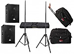 "Behringer Pro Audio DJ (2) E1220A Powered 400 Watt 12"" Mixer Speakers with Adjustable Stands & (2) Gator Cases Rolling Gig Bags"