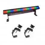 Chauvet DJ COLORstrip Mini 19-Inch 4-Channel Linear LED Wash Light DMX-512 with 2 Mounting Truss Clamps