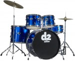 Ddrum D2 PB Police Blue Colored 5-Piece Complete Drumset Package for Beginners