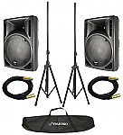 """Gemini RS-412 (2) New Pro Audio DJ Active 12"""" 1600W Speaker Pair with $220 Tripod Stands & XLR Cables!"""