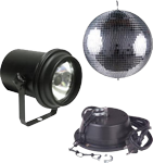 "American DJ M-500L Mirror Disco 12"" Ball, Motor & Pin Spot Light"