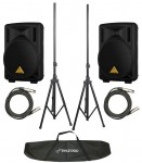 "New Behringer B208D (2) Pro Audio DJ Active 400 Watt 2 Way 8"" Speaker Pair with $165 Tripod Stands & XLR Cables"