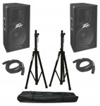 "Pro Audio DJ (2) Peavey PV115D Powered 400 Watt 15"" 2-Way Speakers with XLR Cables & Tripod Stands"
