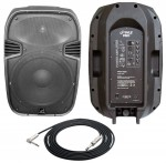 """Pro Audio Pyle DJ PPHP1585A Powered 1000 Watt 2 Way 15"""" PA Speaker with 1/4"""" TRS cable"""