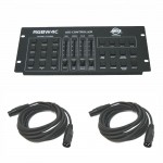 RGBW4C LED Par Can Stage Wash Multi Color American DJ Controller with (2) DMX Cables Combo